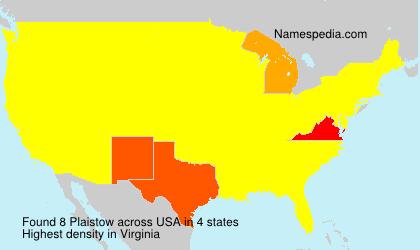 Familiennamen Plaistow - USA