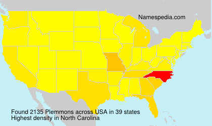 Surname Plemmons in USA