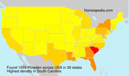 Surname Plowden in USA