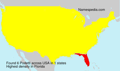 Familiennamen Podetti - USA
