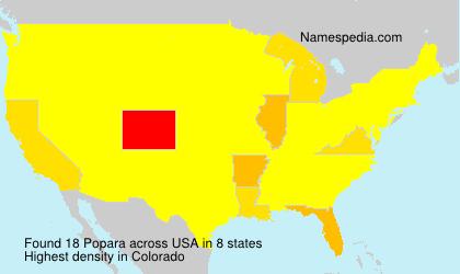 Surname Popara in USA