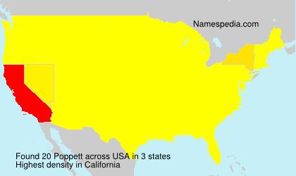 Surname Poppett in USA