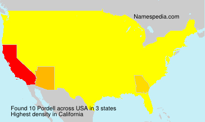 Surname Pordell in USA