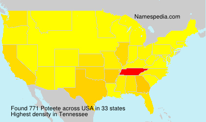 Surname Poteete in USA