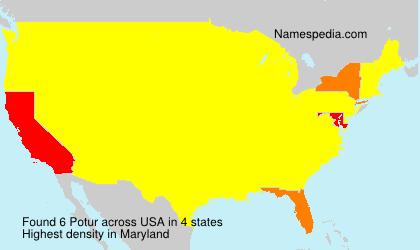 Surname Potur in USA