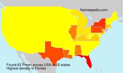 Familiennamen Preen - USA
