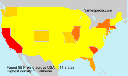 Surname Preisig in USA