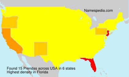Familiennamen Prendas - USA