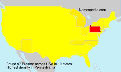 Surname Presnar in USA