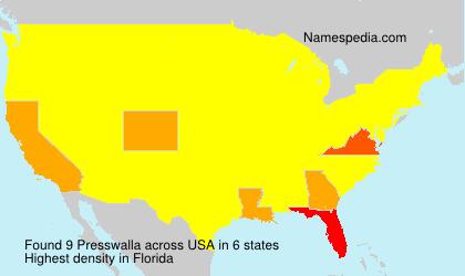 Familiennamen Presswalla - USA