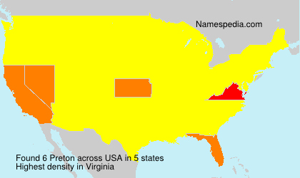 Surname Preton in USA