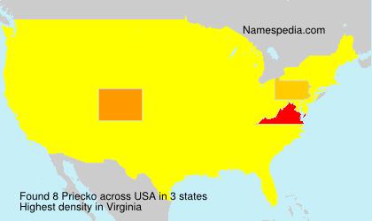 Surname Priecko in USA