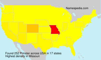 Surname Prinster in USA