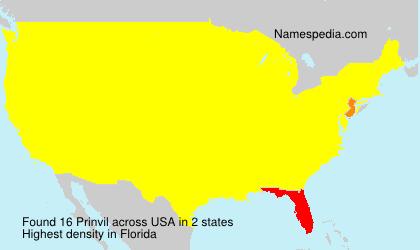 Surname Prinvil in USA