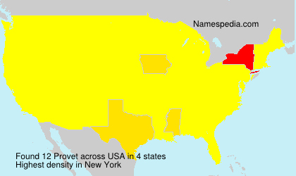 Surname Provet in USA