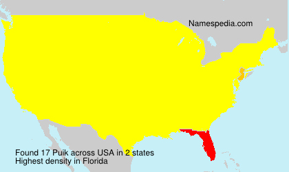 Surname Puik in USA