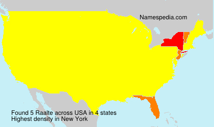 Surname Raalte in USA