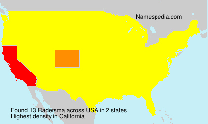 Surname Radersma in USA