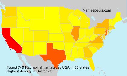 Familiennamen Radhakrishnan - USA