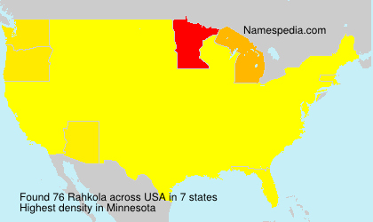 Surname Rahkola in USA