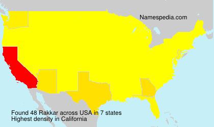 Familiennamen Rakkar - USA