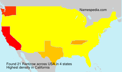 Surname Rantzow in USA