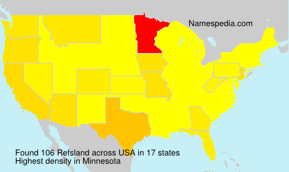 Surname Refsland in USA
