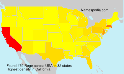 Surname Rege in USA