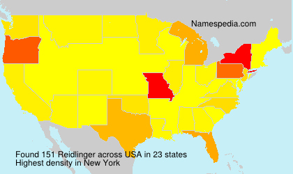 Surname Reidlinger in USA