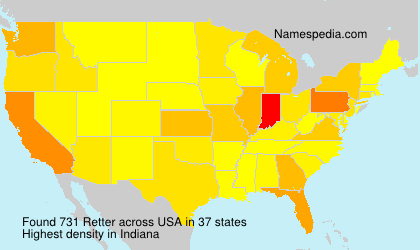 Surname Retter in USA