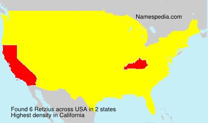 Familiennamen Retzius - USA