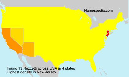 Familiennamen Rezzetti - USA