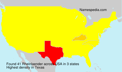 Surname Rheinlaender in USA