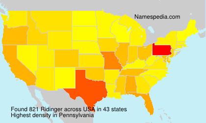 Surname Ridinger in USA