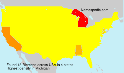 Surname Riemens in USA