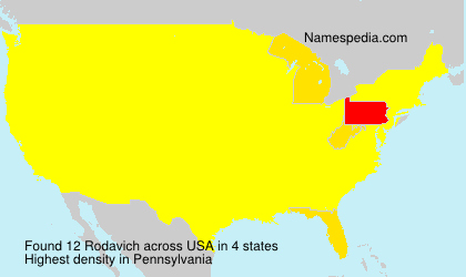 Surname Rodavich in USA