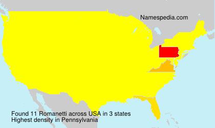 Surname Romanetti in USA