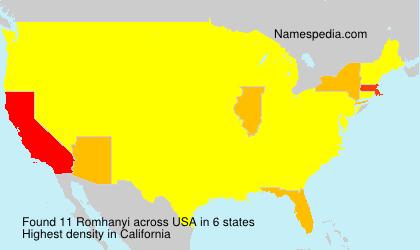 Surname Romhanyi in USA