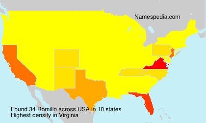 Familiennamen Romillo - USA