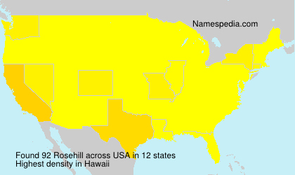 Surname Rosehill in USA