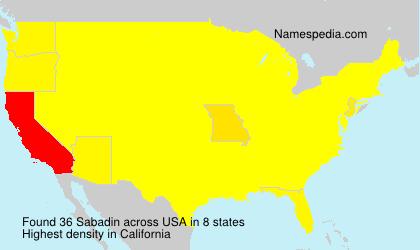Familiennamen Sabadin - USA