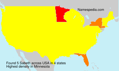 Surname Sabeth in USA