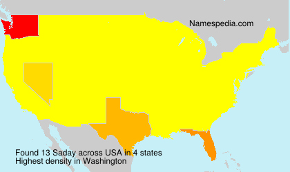 Surname Saday in USA