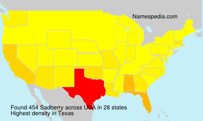 Surname Sadberry in USA