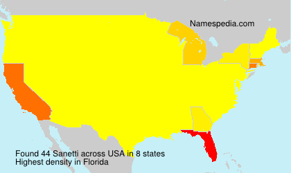 Surname Sanetti in USA