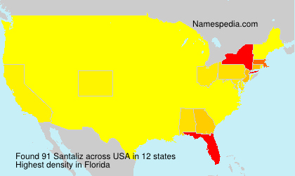 Surname Santaliz in USA
