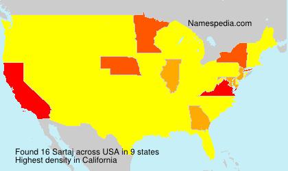 Familiennamen Sartaj - USA