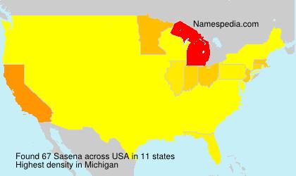 Familiennamen Sasena - USA