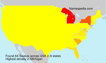 Surname Saukas in USA