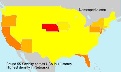 Familiennamen Savicky - USA